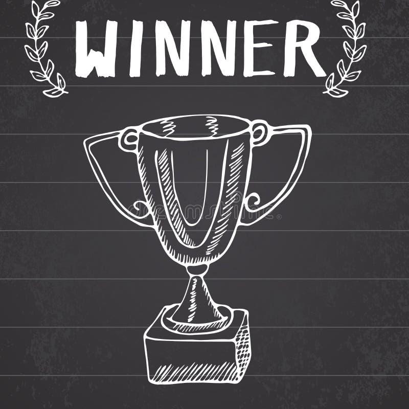 体育战利品剪影乱画 手拉的优胜者得奖在黑板背景 皇族释放例证