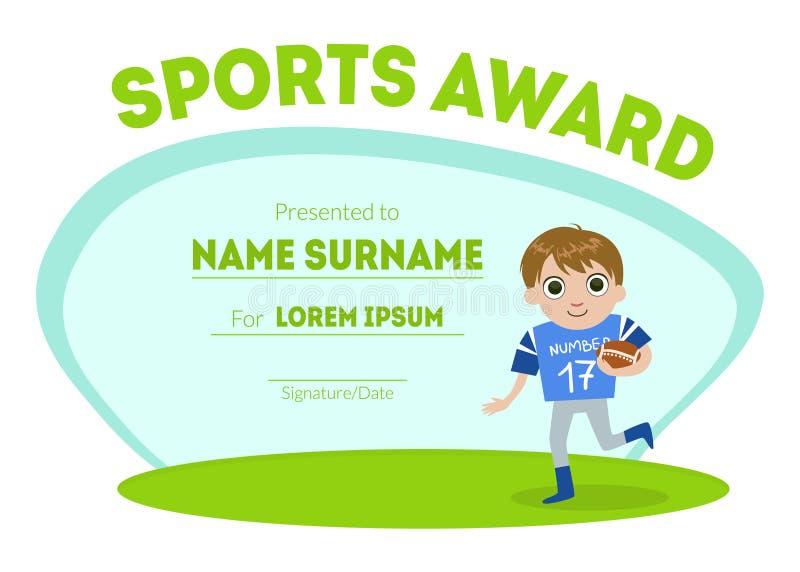 体育授予文凭模板,孩子认可与男孩竞争或体育优胜者传染媒介的橄榄球球员 库存例证