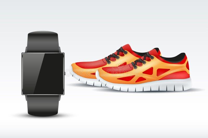 体育数字式巧妙的手表和运动鞋 库存例证