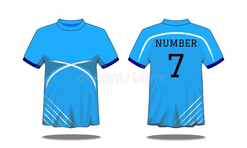 体育有短袖的人的T恤杉在前面和后面看法 与白色条纹和编辑可能的颜色设计的蓝色 假装spor 向量例证