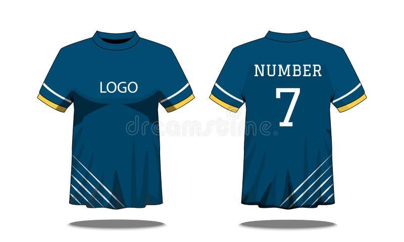 体育有短袖的人的T恤杉在前面和后面看法 与黄色白色条纹和编辑可能的颜色设计的蓝色 假装  库存例证