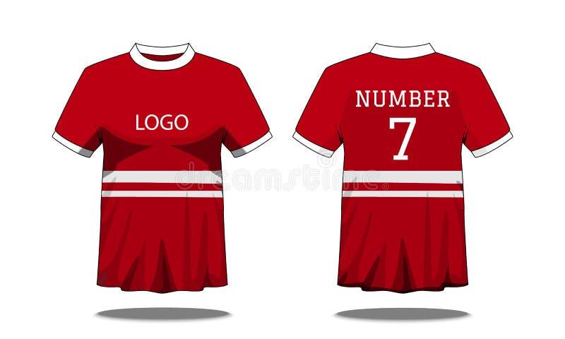 体育有短袖的人的T恤杉在前面和后面看法 红色与白色条纹和编辑可能的颜色设计 假装体育 向量例证