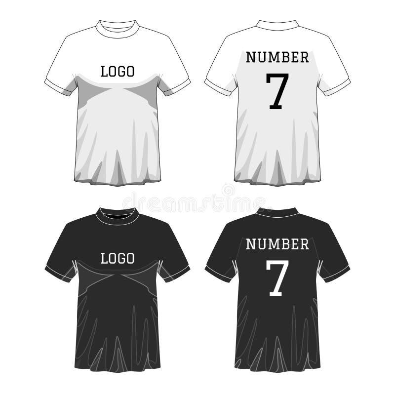 体育有短袖的人的T恤杉在前面和后面看法 黑白或设计编辑可能的颜色 假装体育穿戴 库存例证