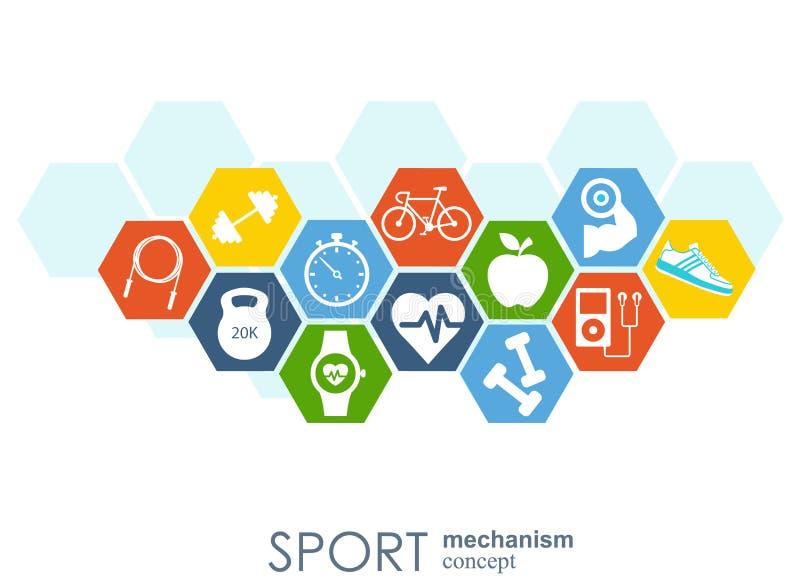 体育机制概念 橄榄球,篮球,排球,球概念 与被连接的对象的抽象背景 库存例证