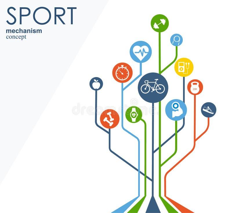 体育机制概念 橄榄球,篮球,排球,球概念 与被连接的对象的抽象背景 皇族释放例证