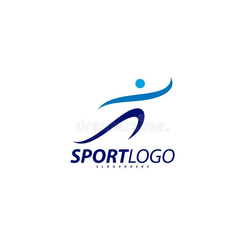 体育标志设计,健身人象传染媒介商标,速度健身,赛跑,游泳,跳跃的略写法,六角形人 向量例证