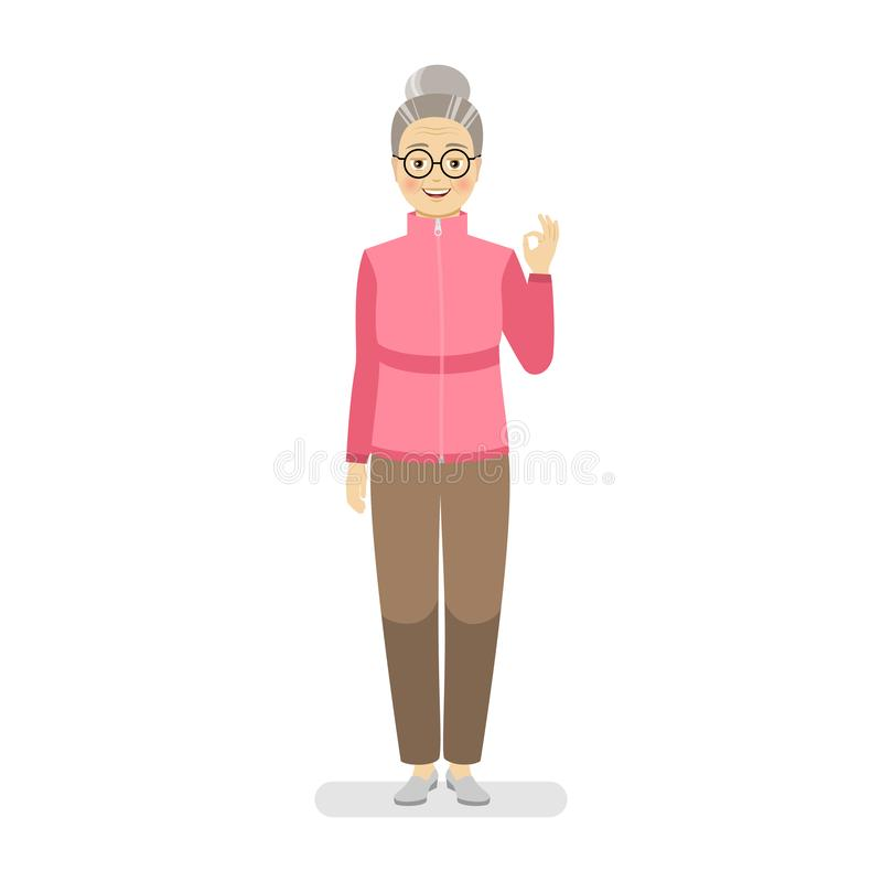 体育桃红色毛线衣和棕色裤子的愉快的祖母完全显示一个姿态 手势罚款 库存例证