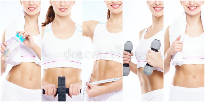 体育概念的亭亭玉立和苗条女孩 体育、健身、减重、身体关心和锻炼汇集 库存图片