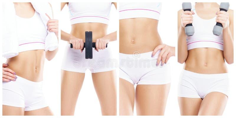 体育概念的亭亭玉立和苗条女孩 体育、健身、减重、身体关心和锻炼汇集 图库摄影