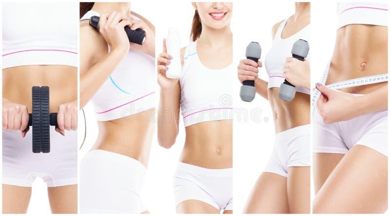 体育概念的亭亭玉立和苗条女孩 体育、健身、减重、身体关心和锻炼汇集 库存照片