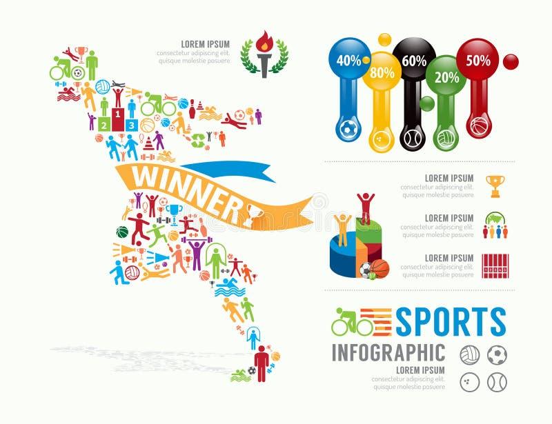 体育模板设计Infographic 概念传染媒介例证 向量例证