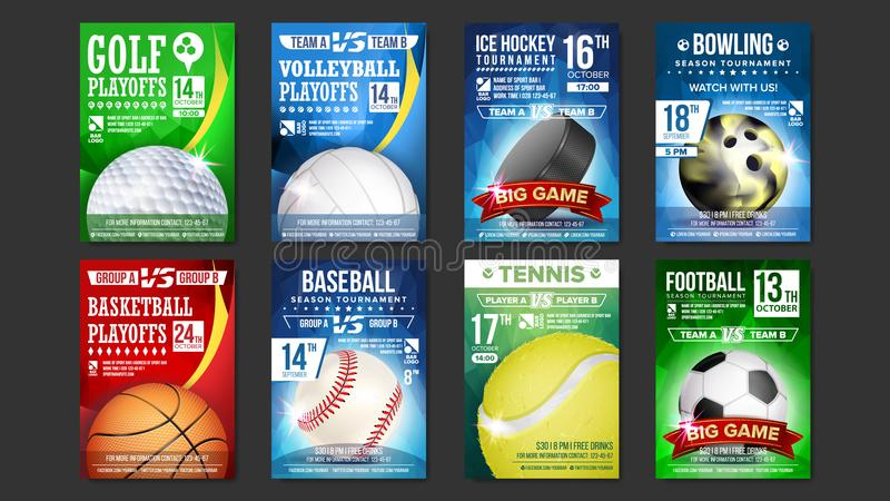 体育海报被设置的传染媒介 高尔夫球,棒球,冰球,保龄球,篮球,网球,足球,橄榄球 事件公告 向量例证