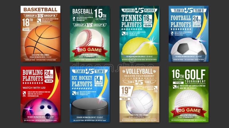 体育海报被设置的传染媒介 高尔夫球,棒球,冰球,保龄球,篮球,网球,足球 娱乐酒吧的设计 库存例证
