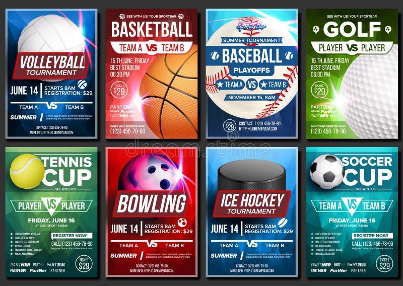 体育海报集合传染媒介 篮球,网球,足球,橄榄球,高尔夫球,棒球,冰球,滚保龄球 垂直的设计为 向量例证