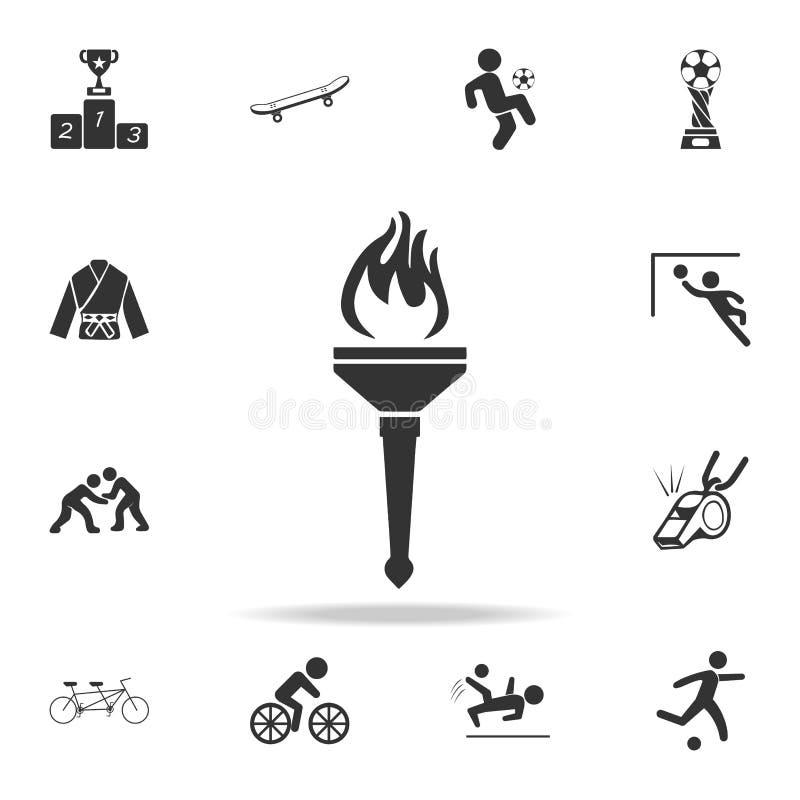 体育火炬象 详细的套运动员和辅助部件象 优质质量图形设计 其中一个汇集象为 库存例证