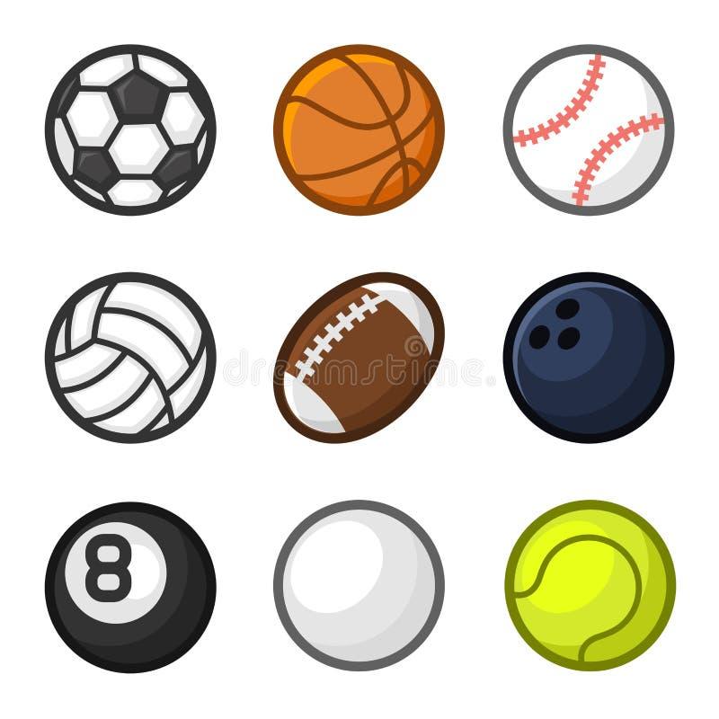 体育球在白色背景设置的动画片样式 向量 向量例证