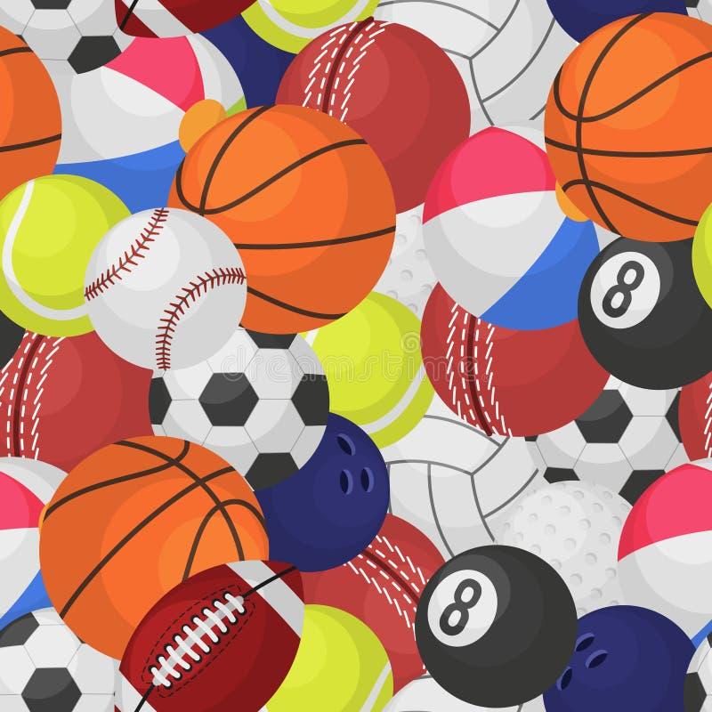 体育球无缝的样式 运动器材球构造比赛棒球橄榄球篮球网球橄榄球动画片 向量例证