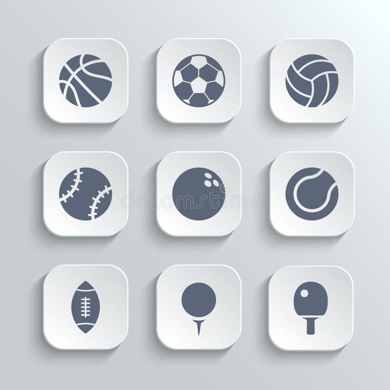 体育球象设置了-导航白色app按钮 皇族释放例证