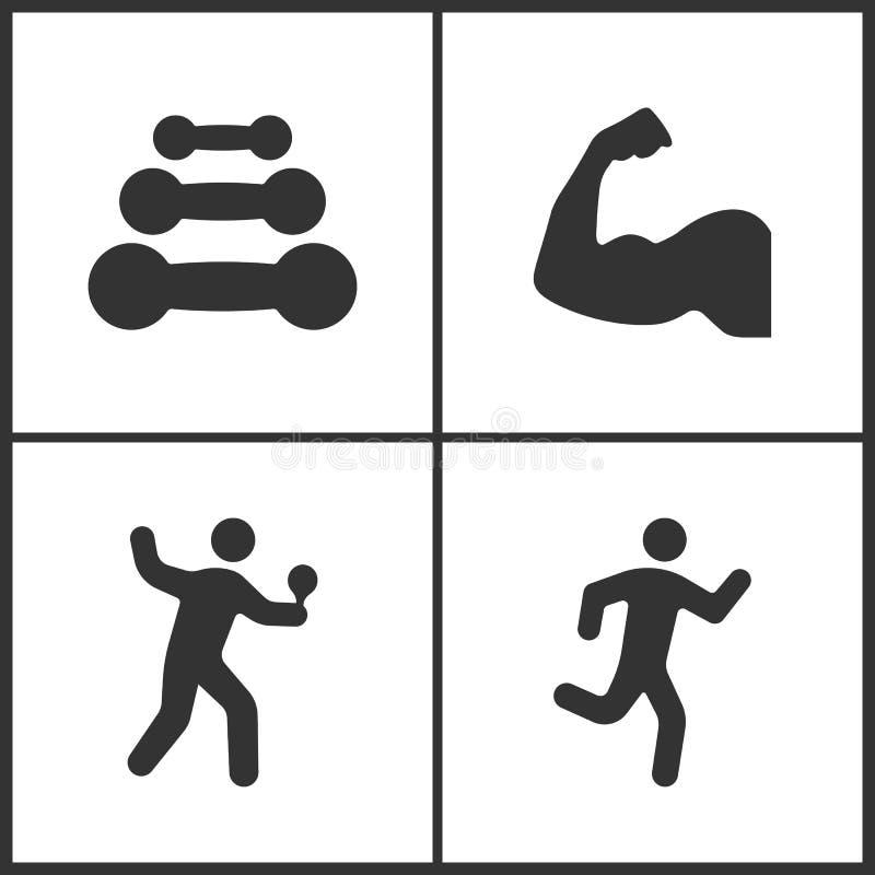 体育的传染媒介例证设置了象 哑铃,肌肉胳膊、台球网球员和连续人象的元素 向量例证