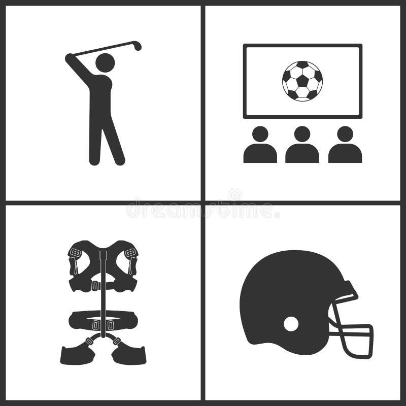 体育的传染媒介例证设置了象 高尔夫球运动员、乐趣俱乐部,登山人传送带和曲棍球盔甲的元素象 库存例证