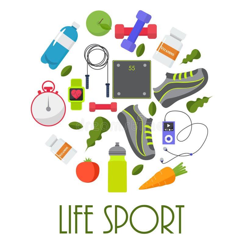 体育的圆概念,健身,健康生活方式设备 库存例证