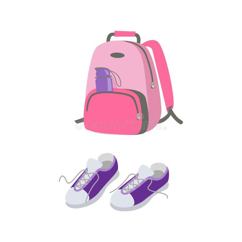 体育的桃红色背包和休闲和紫色运动鞋 库存例证