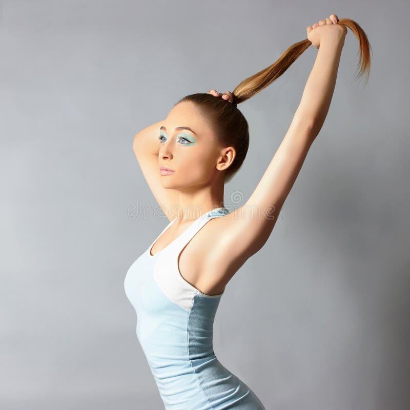 体育礼服的健身妇女 库存图片