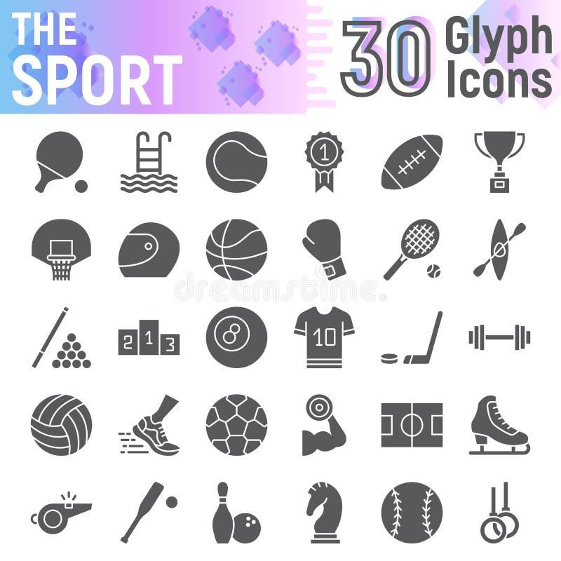 体育纵的沟纹象集合,健身标志汇集,传染媒介剪影,商标例证,比赛签署坚实图表 向量例证