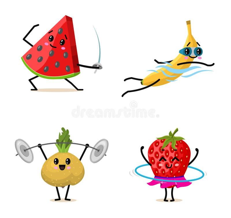 体育结果实字符 设置逗人喜爱的健康菜和滑稽的做锻炼的fberries锻炼 愉快的食物 库存例证