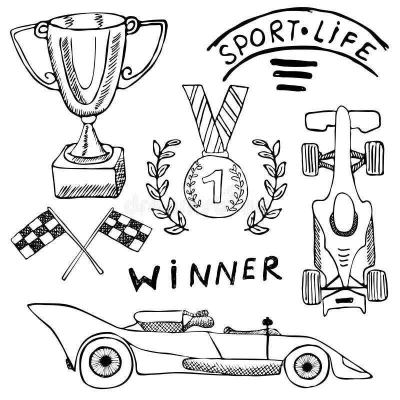 体育自动项目乱画元素 与旗子象的手拉的集合 方格或赛跑下垂第一个地方奖杯子 奖牌和rasin 皇族释放例证