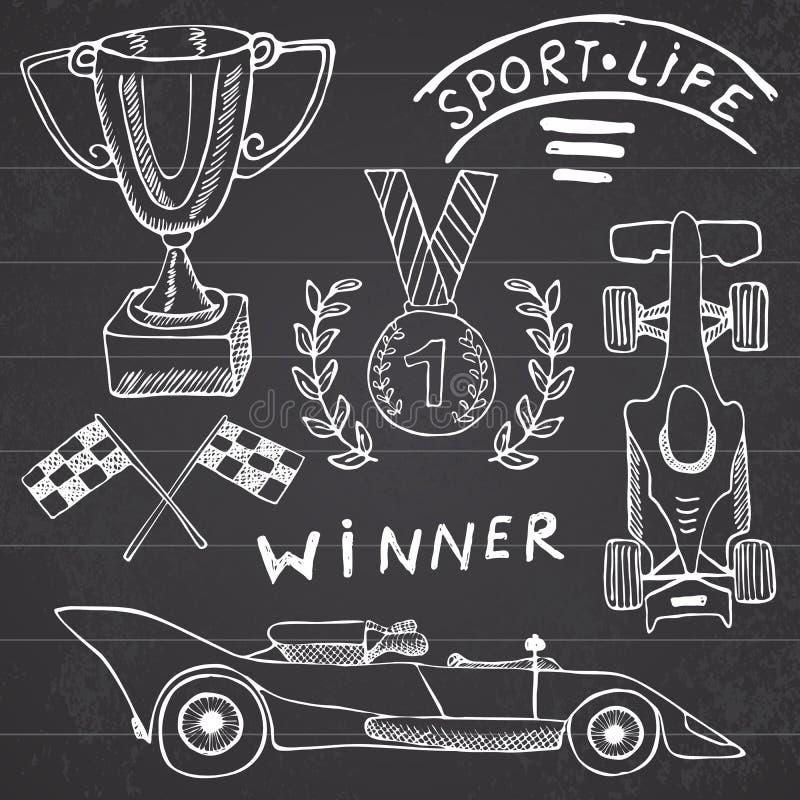 体育自动项目乱画元素 与旗子象的手拉的集合 方格或赛跑下垂第一个地方奖杯子 奖牌, rasing的c 皇族释放例证