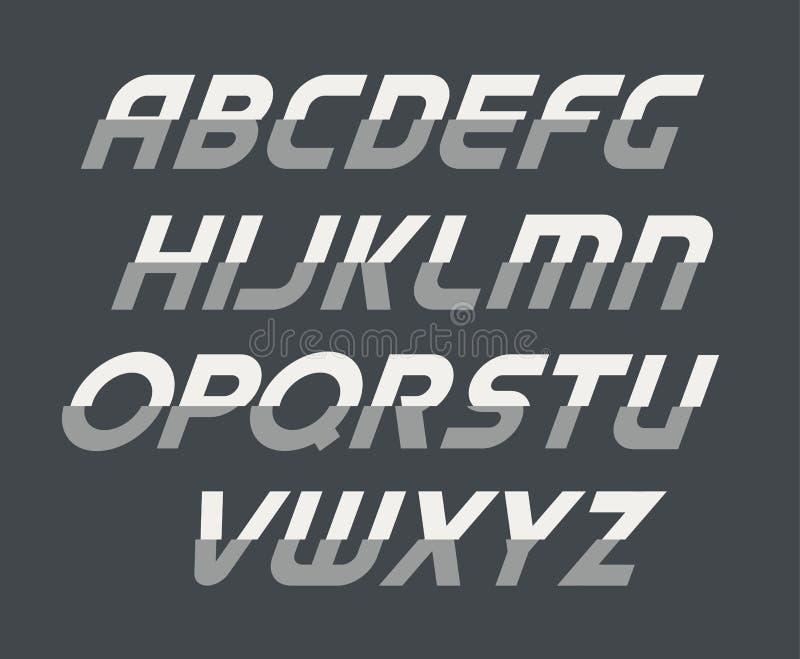 体育草写大写字母表 未来派技术字体 现代组合图案模板 Minimalistic传染媒介设计 库存例证