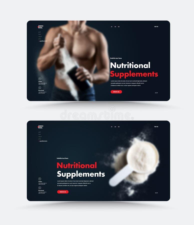 体育营养的黑网页设计 皇族释放例证