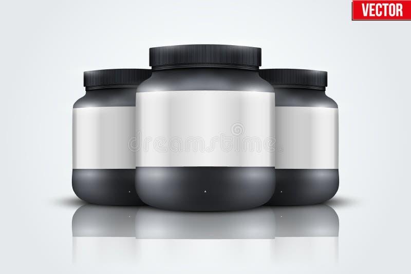体育营养容器大模型背景  乳清蛋白和获得者 向量例证