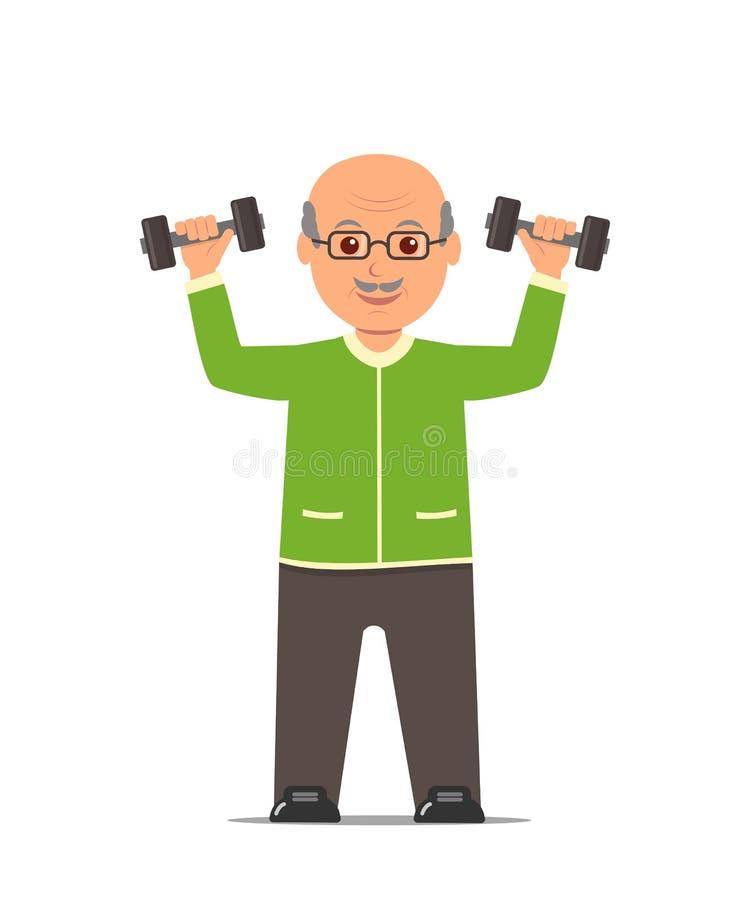 体育衣服的年长人训练与哑铃 活跃和健康生活方式老人 向量例证