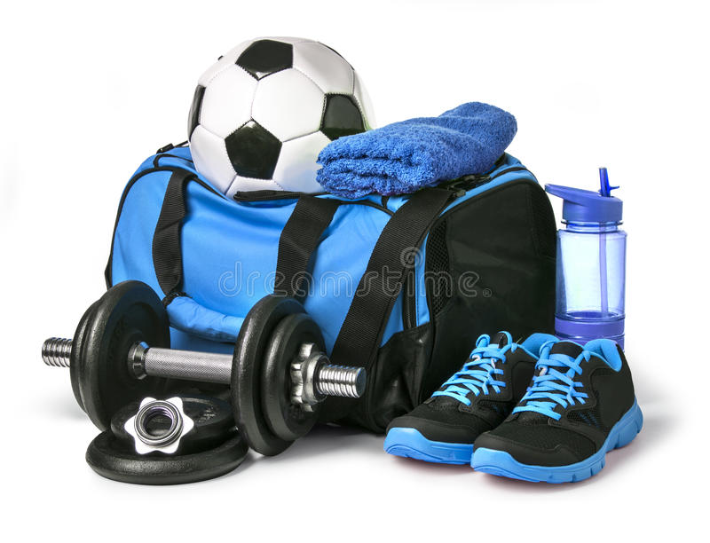 体育袋子用运动器材 免版税库存照片