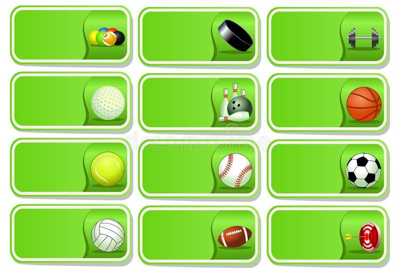 体育运动球图标集 皇族释放例证