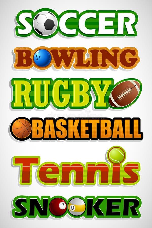 体育运动贴纸 库存例证