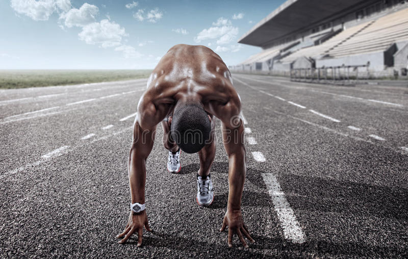 体育运动 发动赛跑者 库存图片