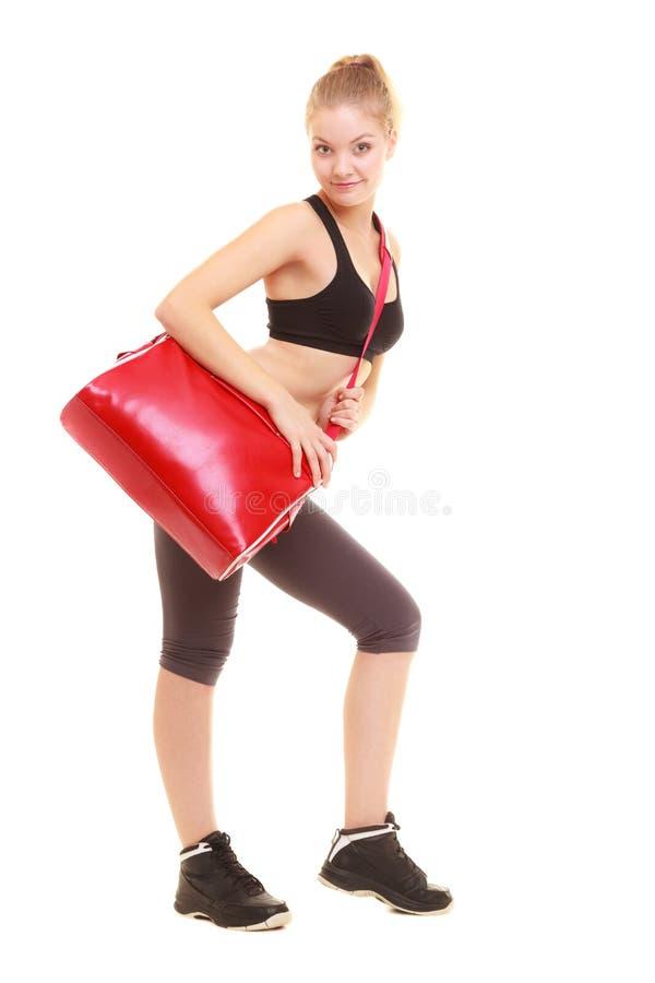 体育运动 运动服的健身运动的女孩有健身房袋子的 库存图片
