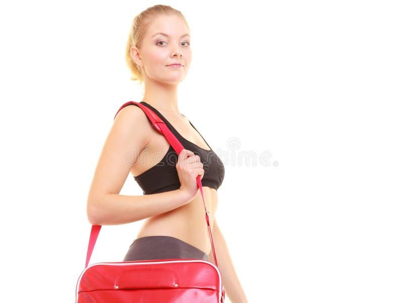 体育运动 运动服的健身运动的女孩有健身房袋子的 图库摄影