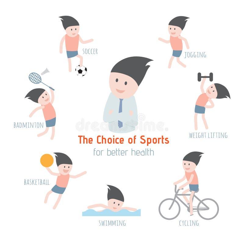 体育选择更好的健康的 库存例证