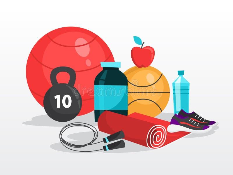 体育锻炼网横幅 对健身和锻炼的时间 向量例证
