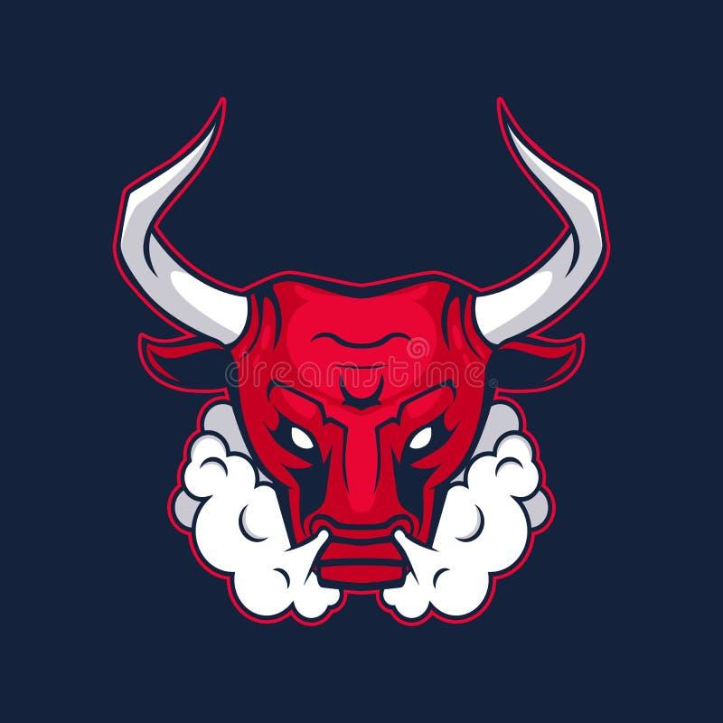 体育队的公牛吉祥人 公牛,商标,在黑暗的背景的标志 皇族释放例证