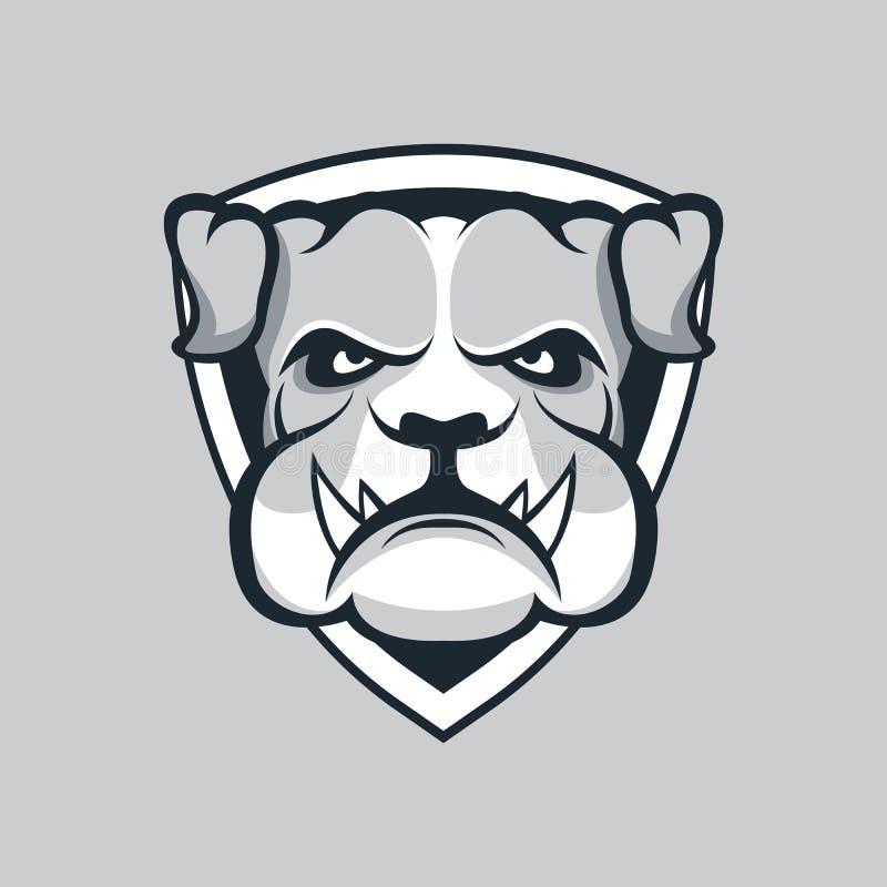 体育队的现代专业商标 牛头犬吉祥人 牛头犬,在黑暗的背景的传染媒介标志 皇族释放例证