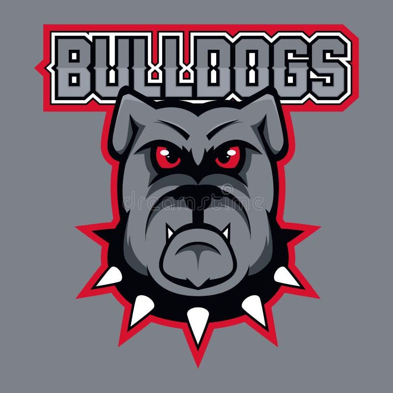 体育队的现代专业商标 牛头犬吉祥人 牛头犬,在黑暗的背景的传染媒介标志 向量例证