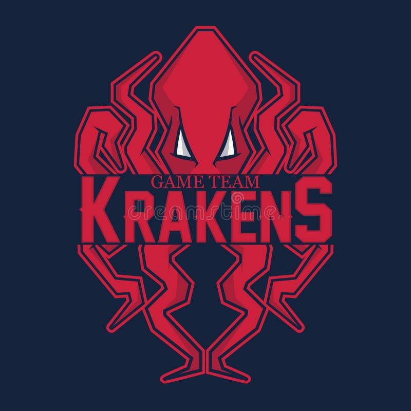 体育队的现代专业商标 Kraken吉祥人 章鱼,在红色背景的传染媒介标志 向量例证