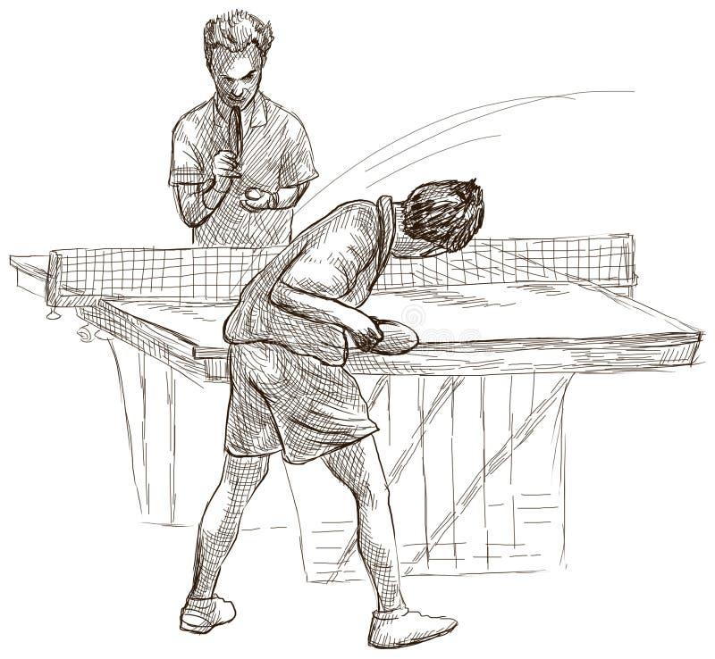 体育,乒乓球,乒乓球 手拉,线艺术,图片 皇族释放例证