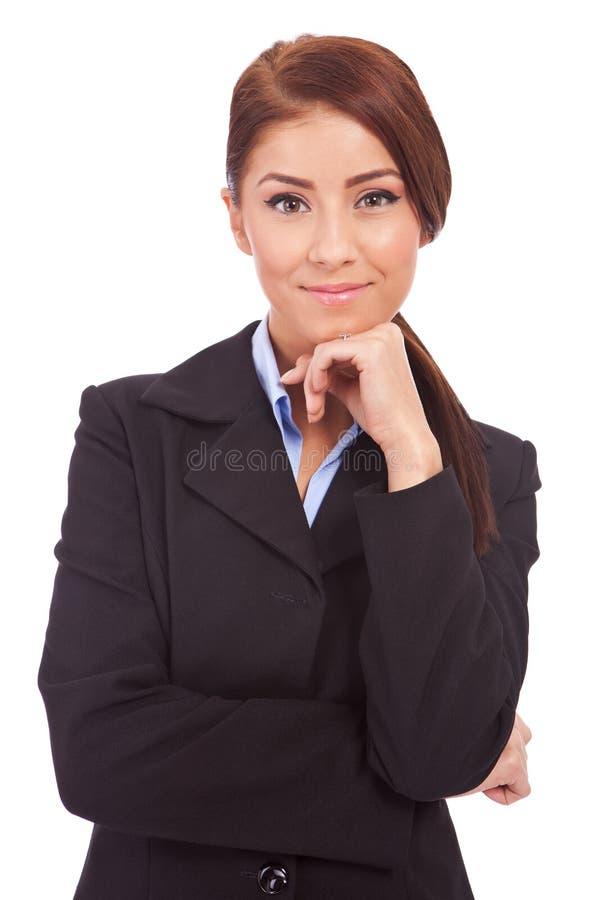 体贴的女商人 免版税库存图片