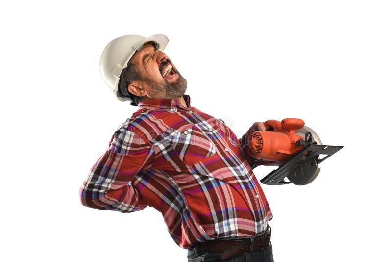 体验背部疼痛的工作者 免版税图库摄影
